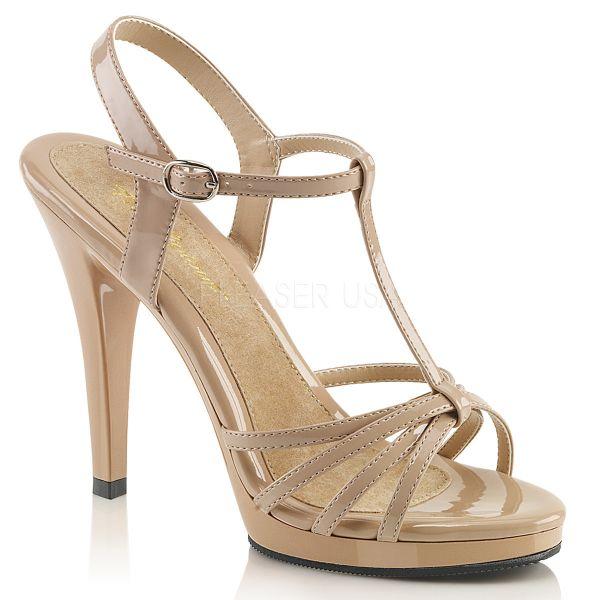 Riemchen Sandalette mit Plateau nude Lack Flair-420